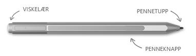 Surface-penn, med bobler for viskelær, tips og Høyreklikk-knappen