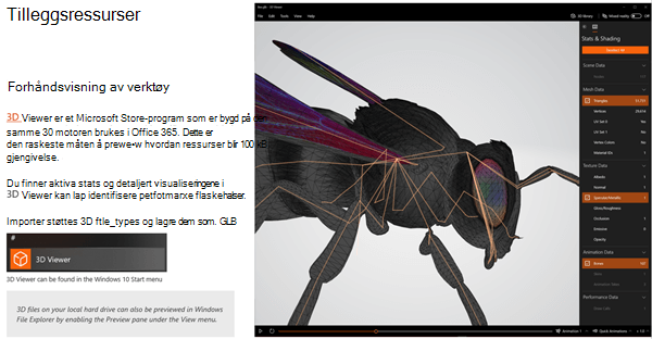 Skjerm bilde fra delen flere ressurser i retnings linjene for 3D-innhold