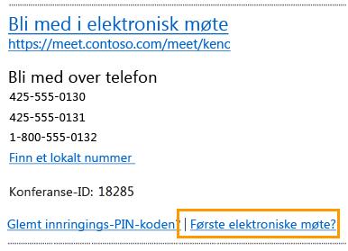 E-postmelding om å bli med på elektronisk møte
