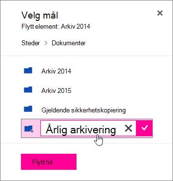 Flytte filen til dialogboksen med et nytt navn på mappen angitt