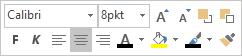 Flytende meny eller miniverktøylinje for tekstredigering