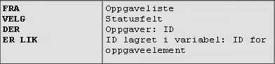 Eksempel 1: ligner på et oppslag for en SQL-spørring