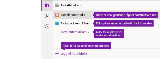 Notatblokklisten i OneNote for Windows 10