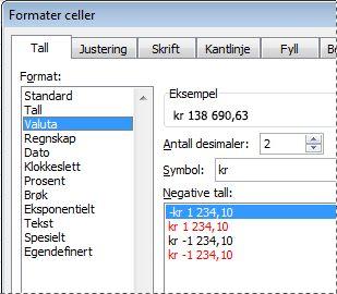 Dialogboksen Formater celler