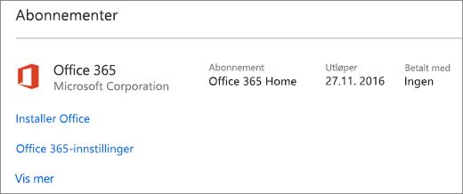 Hvis en prøveversjon av Office 365 ble installert på en ny PC, utløper det på datoen som vises