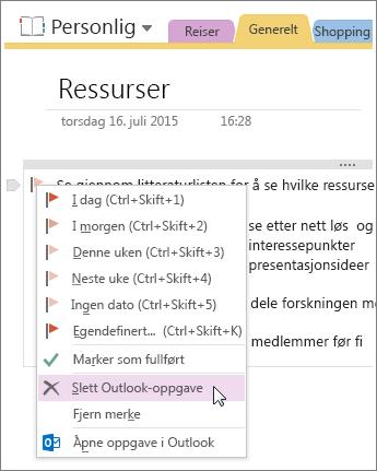 Skjermbilde av hvordan du sletter en Outlook-oppgave i OneNote 2016.