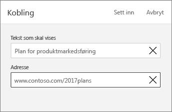 Kobling-kommando som viser teksten som skal vises og adresse