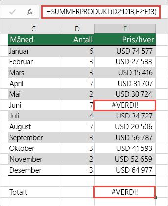 Formelen i celle E15 viser #VERDI!-feil fordi det finnes en #VERDI!-feil i kolonne E.