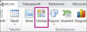 Sett inn utklipp i Office 2010