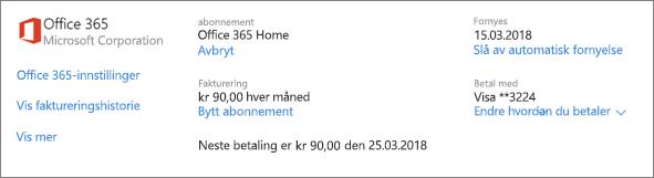 Skjermbilde av Tjenester og abonnementer-siden, som viser abonnementsdetaljer for et Office 365 Home-abonnement.