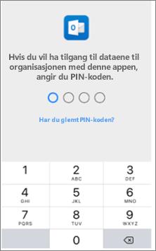 Angi en PIN-kode på IOS-enheten for å få tilgang til Office-appene.