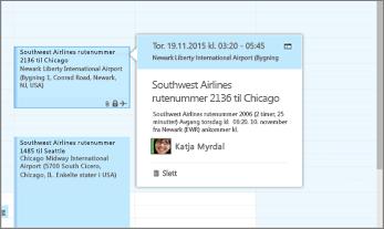 Skjermbilde av Outlook som viser informasjon om flyreise.