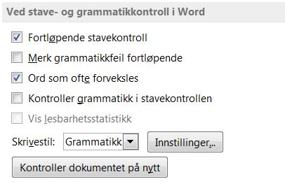 Ved stave- og grammatikkontroll i Word