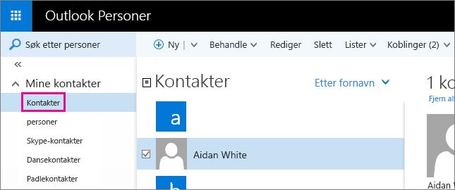 Skjermbilde av Outlook Personer-siden. I den venstre ruten er Mine kontakter utvidet, og Kontakter-mappen vises under den.