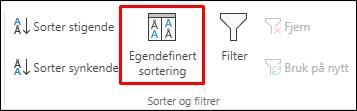 Egendefinerte sorteringsalternativer på Data-fanen i Excel