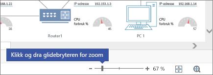 Zoom-glidebryter nederst til høyre med - og + knapper, 67%