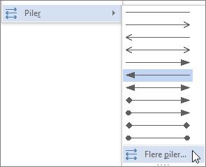 Klikke mer pilene for å tilpasse en linje eller pil