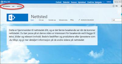 Standard sideoppsett for offentlig Office365-nettsted