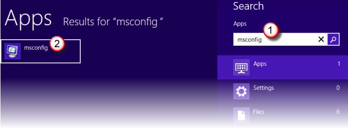 Search box -  msconfig