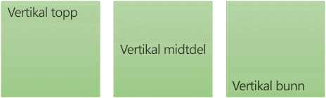 Tre alternativer for loddrett tekstjustering: øverst, midtstilt og nederst
