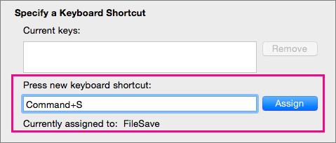 Word viser den eventuelle kommandoen eller makroen som allerede er tilordnet til en tastekombinasjon når du trykker på kombinasjonen.