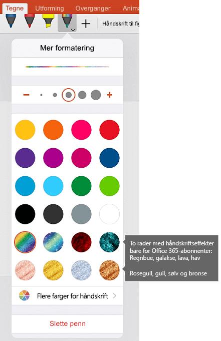 Håndskrift farger og effekter for tegne med håndskrift i Office for IOS