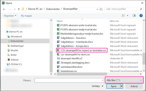 For å finne csv-filen må du passe på at du søker etter Alle filer.