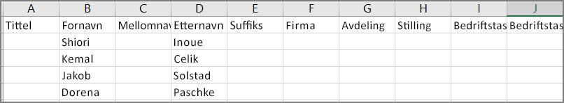 Et eksempel på hvordan en csv-fil ser ut etter at kontakter er eksportert fra Outlook