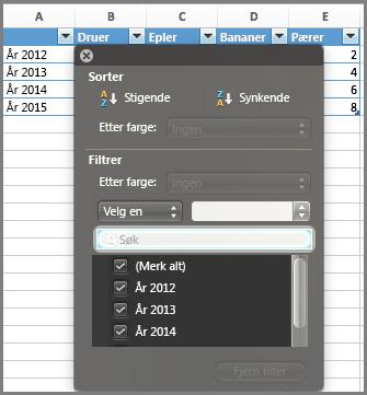 Filter for diagram i Excel for Mac