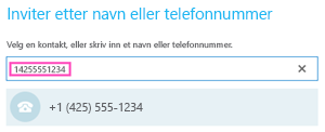Telefonnumre for oppringing i Skype for Business