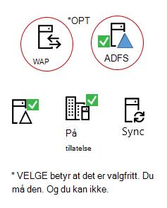 Alle hybrids må disse elementene – en lokal server-produktet, en AAD koble server, lokal Active Directory, valgfritt ADFS og omvendt proxy.