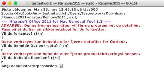 Hold nede CONTROL + klikk på Remove2011-verktøyet for åpne det.