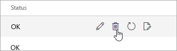 Et skjermbilde av Slett-knappen på Mobile enheter-siden.