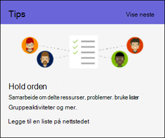 Tips for bruk for SharePoint Online-område