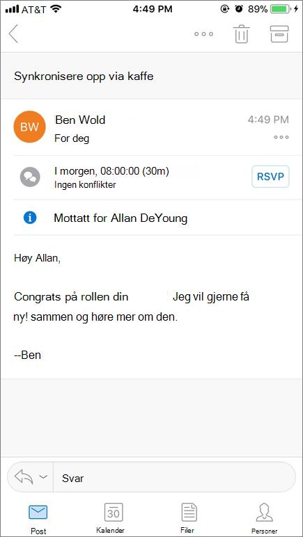 Skjermbildet viser mobilenhet skjermen med e-postelement.