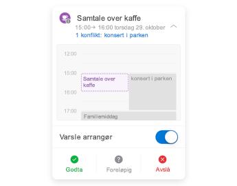 Møteinvitasjon med minikalender øverst, kommentar-delen i midten og svar-knappene nederst.