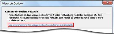 Kobling til leverandørsiden i Outlook Social Connector