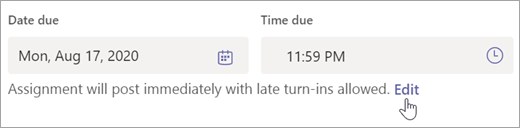 Velg Rediger for å redigere tids linje for oppgaven.