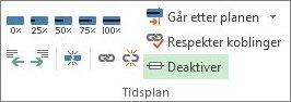 Deaktiver-knappen i Tidsplan-gruppen i kategorien Aktivitet.