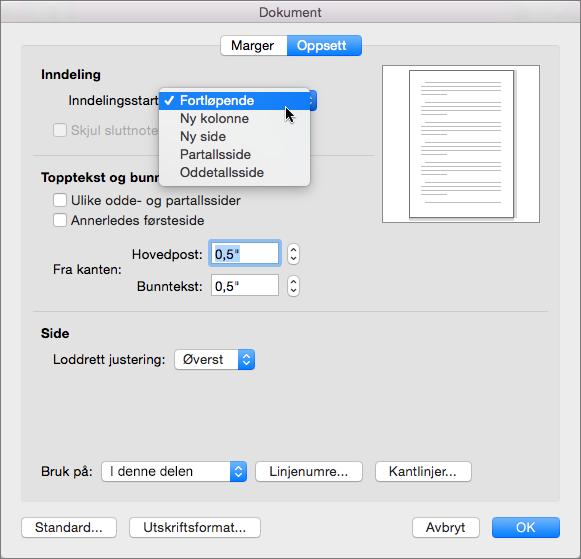 Dokumentdialogboksen inneholder innstillinger for å administrere inndelinger, topptekster og bunntekster