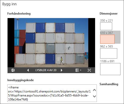 Endre innebygde størrelsesdimensjoner i PowerPoint