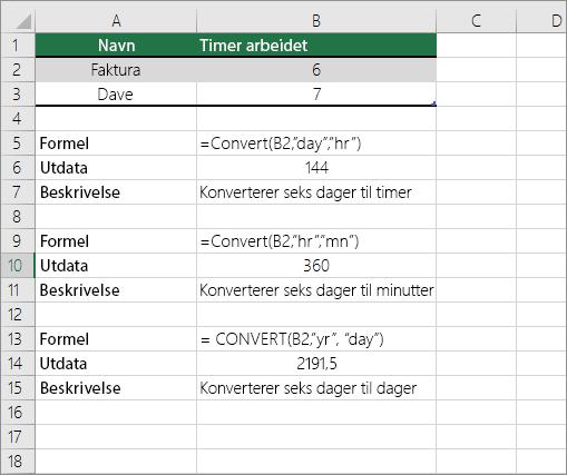 Eksempel: konvertere mellom tids enheter