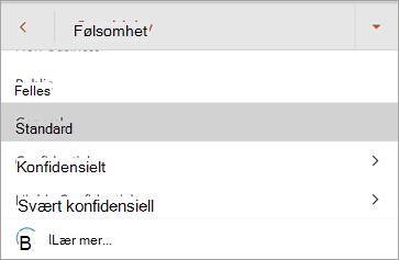 Skjerm bilde av følsomme etiketter i Office for Android