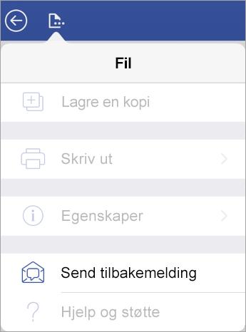 Skjermbilde av Send tilbakemelding-koblingen i Visio på iPad