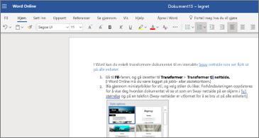 Et dokument med bilder i Word online