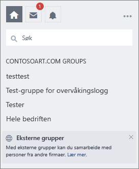 Liste over Yammer-grupper på Yammer-siden
