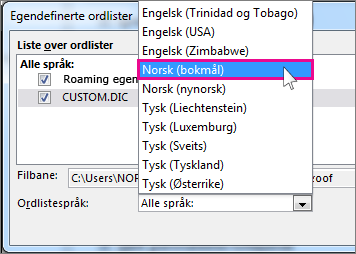 Velge språk for en egendefinert ordliste