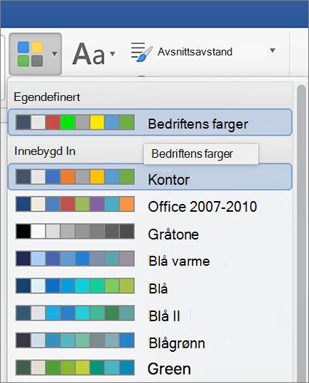 Word egendefinerte temafarger
