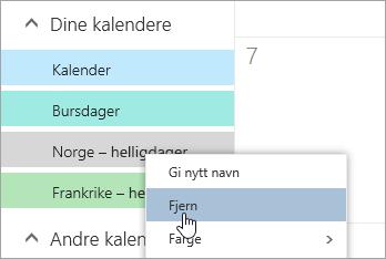 Et skjermbilde av alternativet Fjern kalender