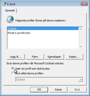 Kommandoen Spør om profil som skal brukes i dialogboksen E-post